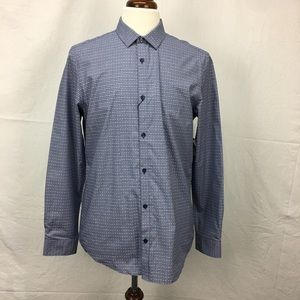 Calvin Klein Blue Mini Check Button Down Shirt